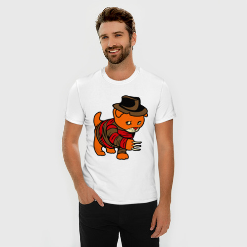 Мужская футболка премиум  Фото 03, котенок на улице вязов