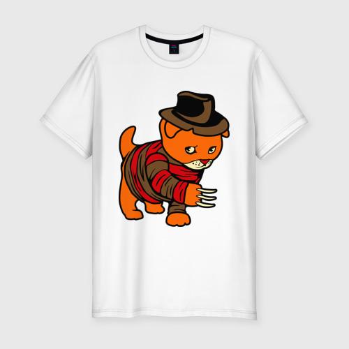 Мужская футболка премиум  Фото 01, котенок на улице вязов
