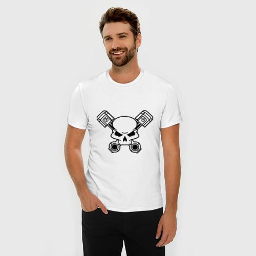 Мужская футболка премиум  Фото 03, череп и поршни