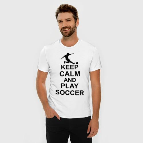 Мужская футболка премиум  Фото 03, Keep calm and play soccer