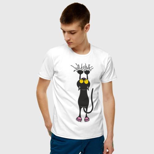 Мужская футболка хлопок Висящий кот Фото 01