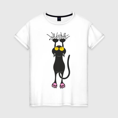 Женская футболка хлопок Висящий кот Фото 01