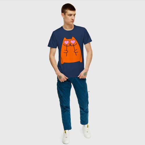 Мужская футболка хлопок кот с сердечками парная женская Фото 01