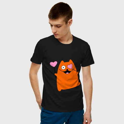 Мужская футболка хлопок кот с сердечками парная мужская Фото 01