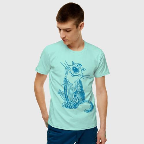 Мужская футболка хлопок Котик Фото 01