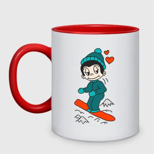 Кружка двухцветная Love is snowboarding