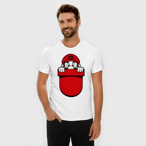 Мужская футболка премиум Марио в кармане Фото 01