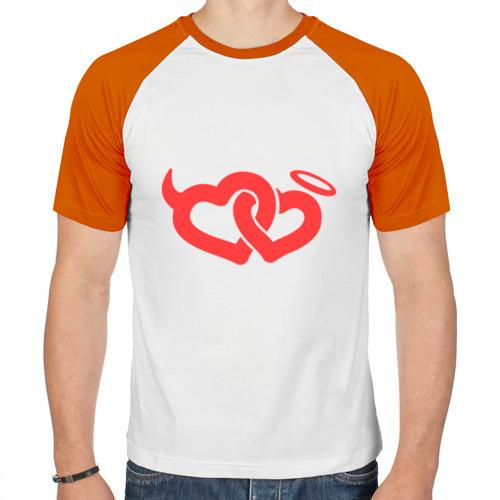 Мужская футболка реглан  Фото 01, Два сердца