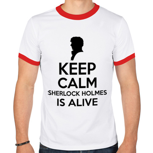 Мужская футболка рингер  Фото 01, Keep calm Sherlock is alive