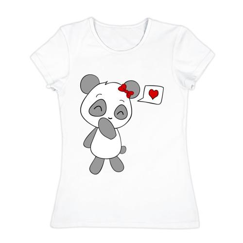 Женская футболка хлопок Панда девочка(парная).