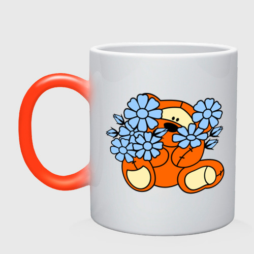 Кружка хамелеон Мишка с цветами