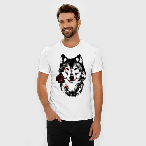 Мужская футболка премиум  Фото 03, Модный дизайн - Волк и Роза