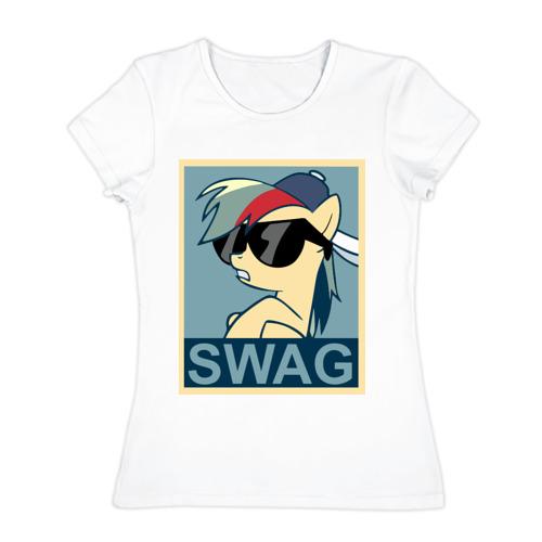 Женская футболка хлопок Rainbow Dash swag