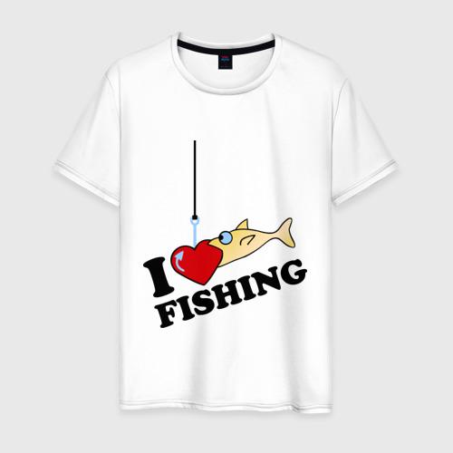 Мужская футболка хлопок I love fishing