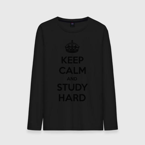 Мужской лонгслив хлопок  Фото 01, Keep calm and study hard