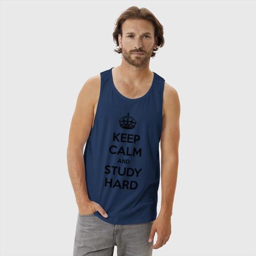 Мужская майка хлопок Keep calm and study hard Фото 01