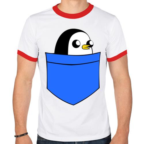 Мужская футболка рингер  Фото 01, Пингвин в кармане