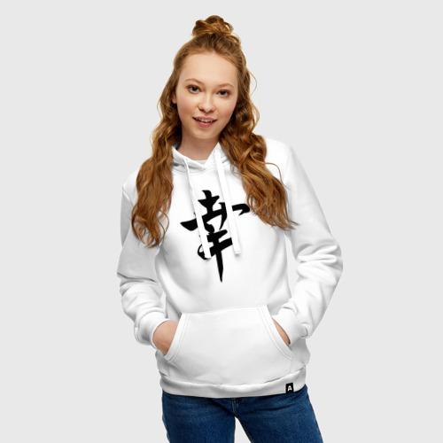Женская толстовка хлопок Японский иероглиф Счастье Фото 01
