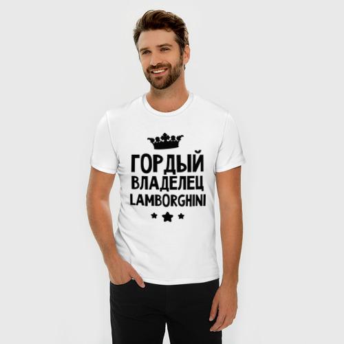 Мужская футболка премиум  Фото 03, Гордый владелец Lamborghini
