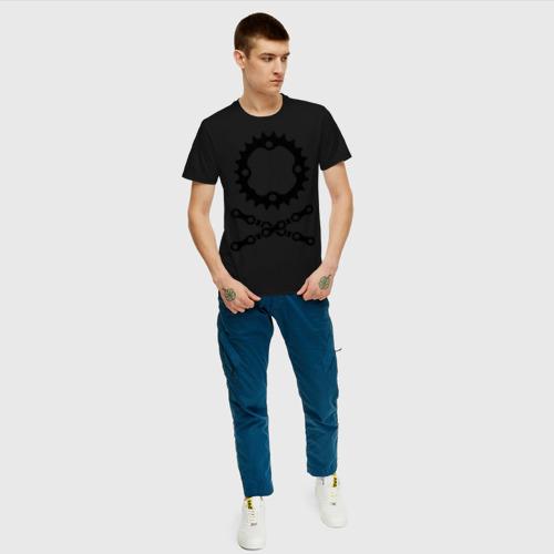 Мужская футболка хлопок Велосипедная цепь и звездочка Фото 01