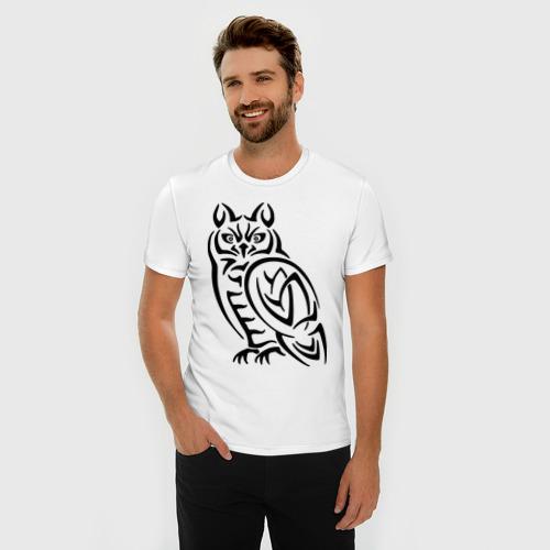 Мужская футболка премиум  Фото 03, Сова кельтский орнамент