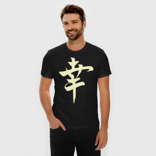 Мужская футболка премиум Японский иероглиф Счастье (свет) Фото 01