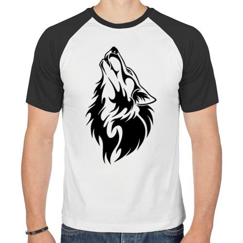 Мужская футболка реглан  Фото 01, Воющий волк