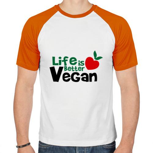 Мужская футболка реглан  Фото 01, Vegan life is better