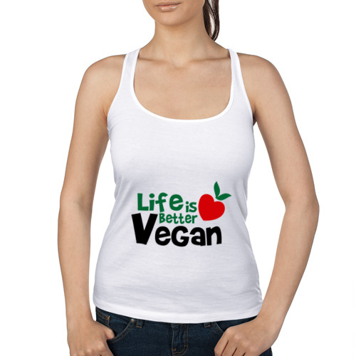 Женская майка борцовка  Фото 01, Vegan life is better