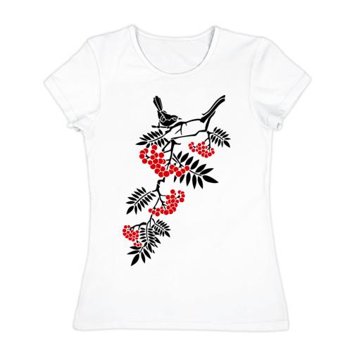 Женская футболка хлопок Рябина