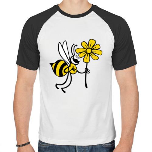 Мужская футболка реглан  Фото 01, Пчела с цветочком