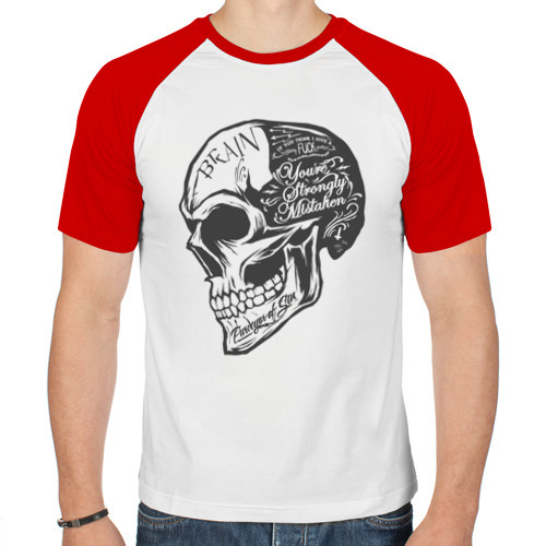 Мужская футболка реглан  Фото 01, череп - brain