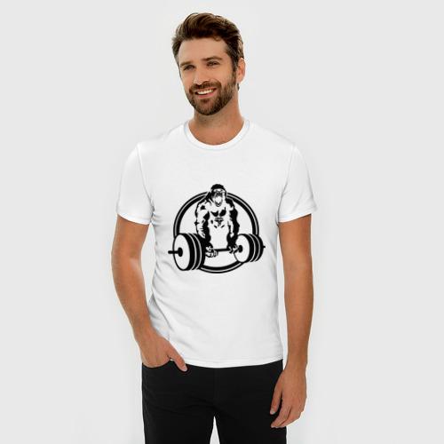 Мужская футболка премиум  Фото 03, Горилла со штангой