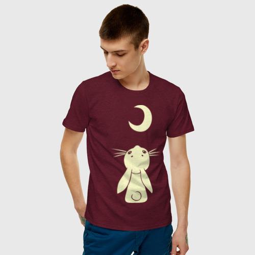 Мужская футболка хлопок Зайчик смотрит на луну (свет) Фото 01