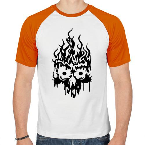 Мужская футболка реглан  Фото 01, Огненый череп