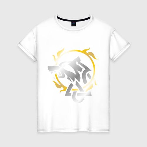 Женская футболка хлопок Волчье солнце