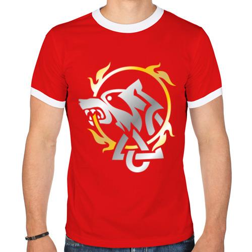 """Мужская футболка-рингер """"Волчье солнце"""" - 1"""