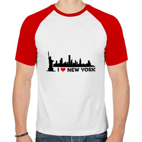 Мужская футболка реглан  Фото 01, I love NY (панорама)