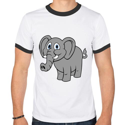 Мужская футболка рингер  Фото 01, Милый слоник