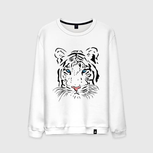 Мужской свитшот хлопок  Фото 01, Белый тигр