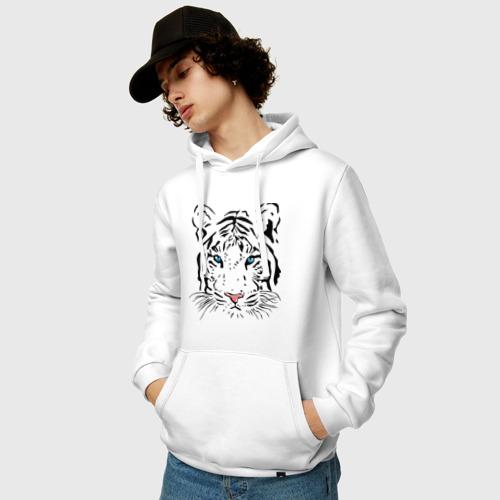 Мужская толстовка хлопок  Фото 03, Белый тигр