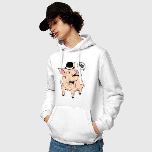 Мужская толстовка хлопок  Фото 03, Свин в цилиндре