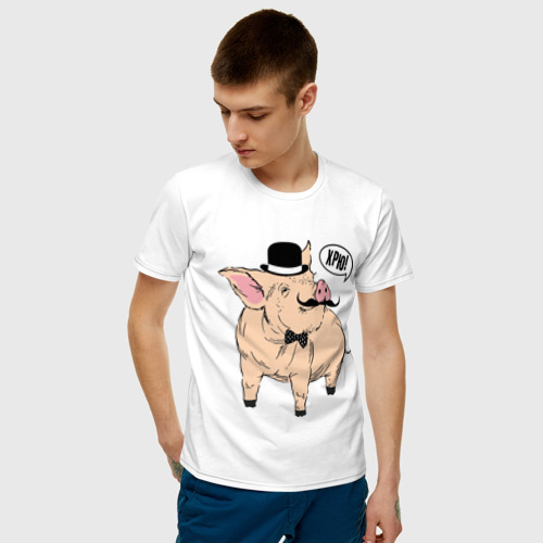 Мужская футболка хлопок Свин в цилиндре Фото 01