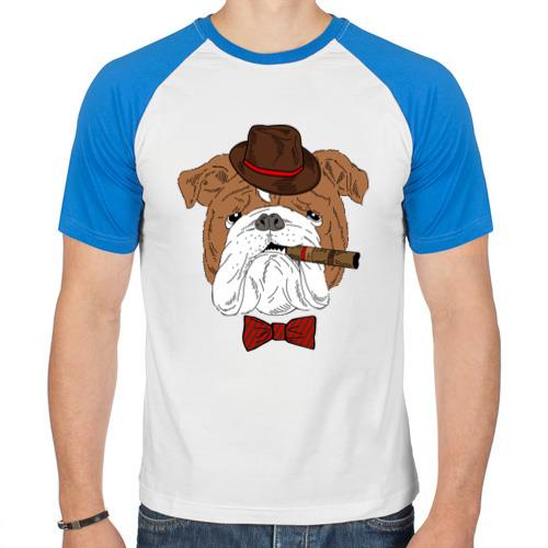 Мужская футболка реглан  Фото 01, Английский бульдог с сигарой