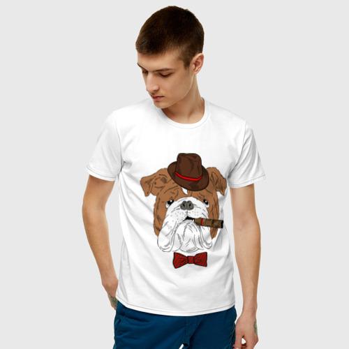 Мужская футболка хлопок Английский бульдог с сигарой Фото 01