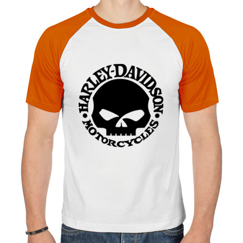 Мужская футболка реглан  Фото 01, Harley Davidson (skull logo)