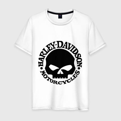 Мужская футболка хлопок Harley Davidson (skull logo)