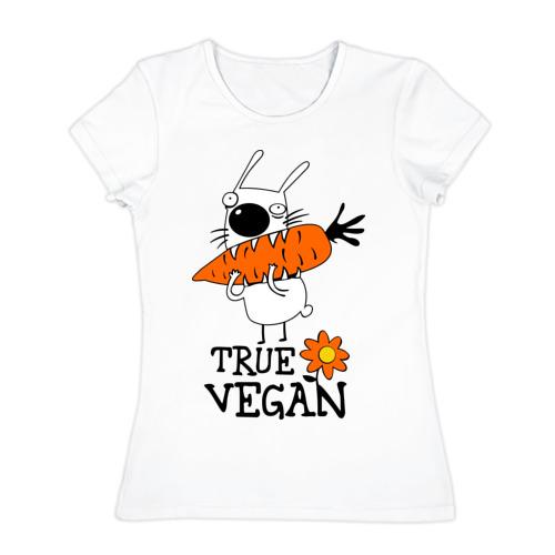 Женская футболка хлопок True vegan (истинный веган)