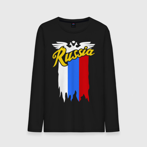 Мужской лонгслив хлопок  Фото 01, Russia каллиграфия флаг