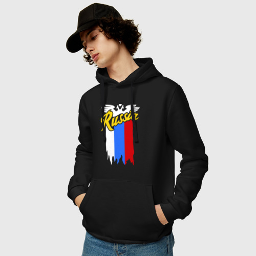 Мужская толстовка хлопок  Фото 03, Russia каллиграфия флаг